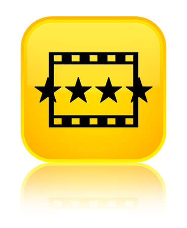 Movie reviews icon isolated on special yellow square button reflected abstract illustration Stock Photo