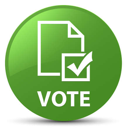 Vote (survey icon) isolated on soft green round button abstract illustration