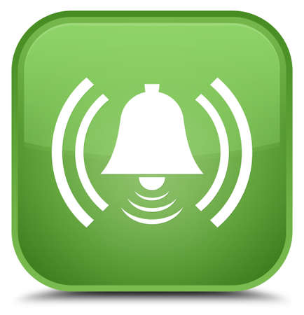 Alarm icon isolated on special soft green square button abstract illustration Stock Photo