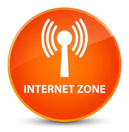 Internet zone (wlan network) isolated on elegant orange round button abstract illustration Stock Photo
