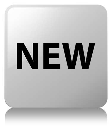 New isolated on white square button reflected abstract illustration Stock Photo