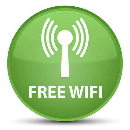 Free wifi (wlan network) isolated on special soft green round button abstract illustration Stock Photo