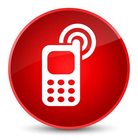 エレガントな赤の丸いボタンの抽象的なイラストに分離されたアイコンを鳴っている携帯電話 写真素材