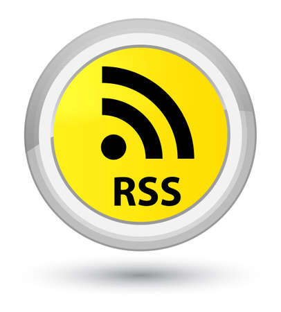 RSS isolated on prime yellow round button abstract illustration