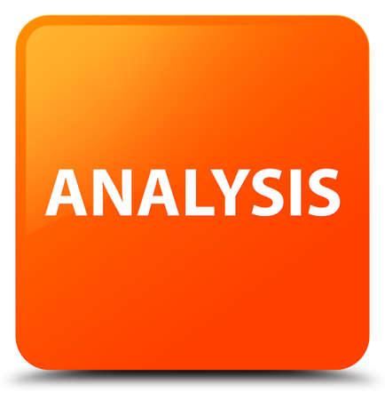 Analysis isolated on orange square button abstract illustration