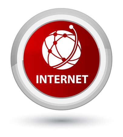 Internet (global network icon) isolated on prime red round button abstract illustration Stock Photo