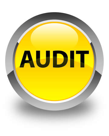 Audit isolated on glossy yellow round button abstract illustration