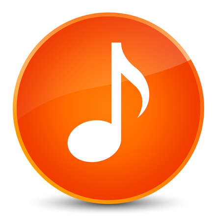 Music icon isolated on elegant orange round button abstract illustration Stock Photo