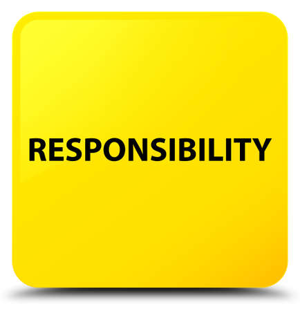 Verantwoordelijkheid op gele vierkante knoop abstracte illustratie die wordt geïsoleerd Stockfoto