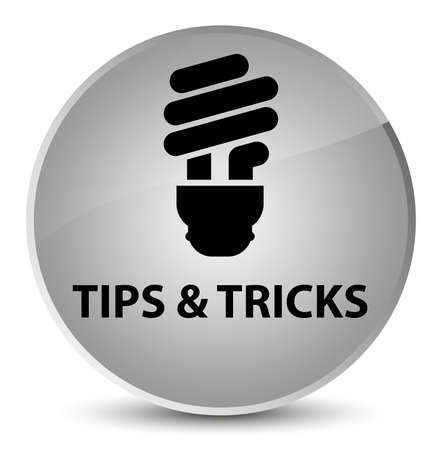 Tips and tricks (bulb icon) isolated on elegant white round button abstract illustration