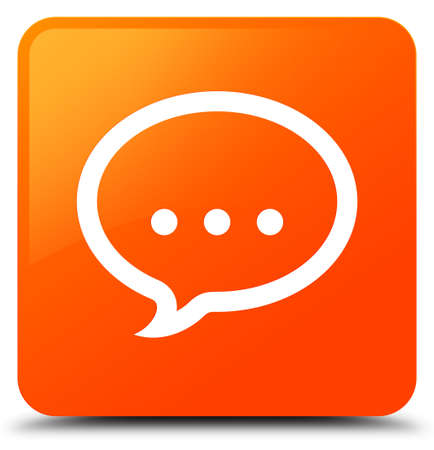 Talk icon isolated on orange square button abstract illustration