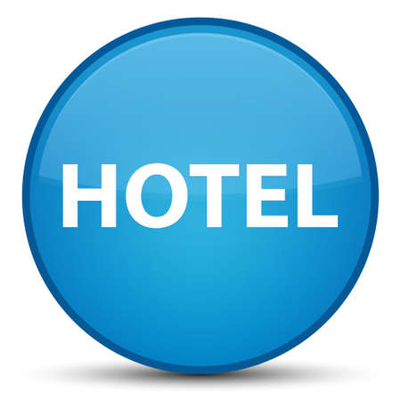 Hotel isolated on special cyan blue round button abstract illustration