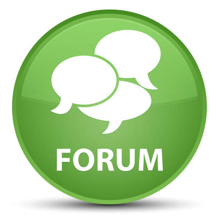 Forum (comments icon) isolated on special soft green round button abstract illustration