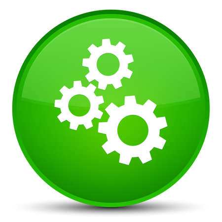 Gears icon isolated on special green round button abstract illustration Stock Photo