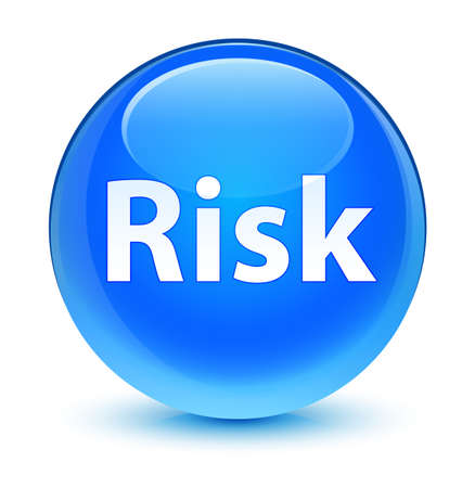 Risk isolated on glassy cyan blue round button abstract illustration Stock Photo