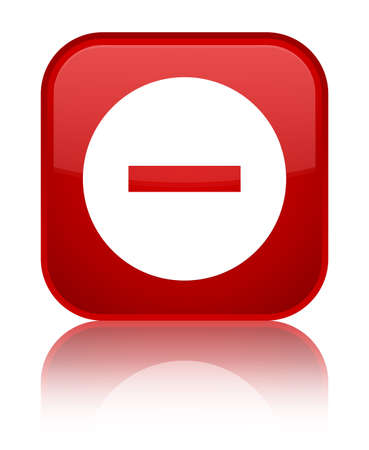 no symbol: Cancel icon isolated on special red square button reflected abstract illustration