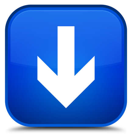 Download arrow icon isolated on special blue square button abstract illustration