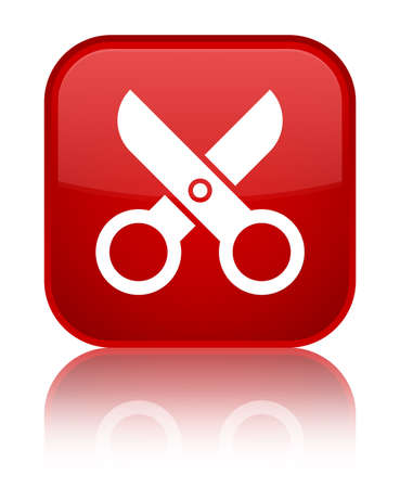 Scissors icon isolated on special red square button reflected abstract illustration Stock Photo