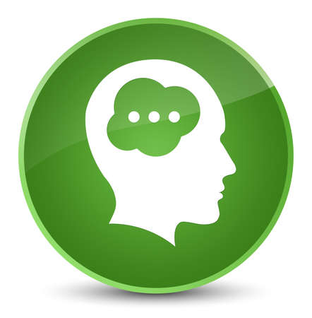Brain head icon isolated on elegant soft green round button abstract illustration