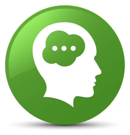 Brain head icon isolated on soft green round button abstract illustration Stock Photo