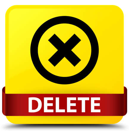 Delete isolated on yellow square button with red ribbon in middle abstract illustration