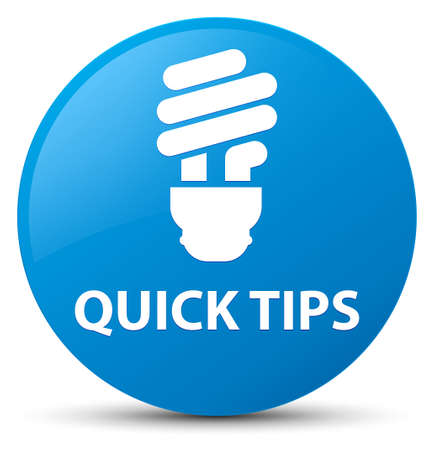 Quick tips (bulb icon) isolated on cyan blue round button abstract illustration
