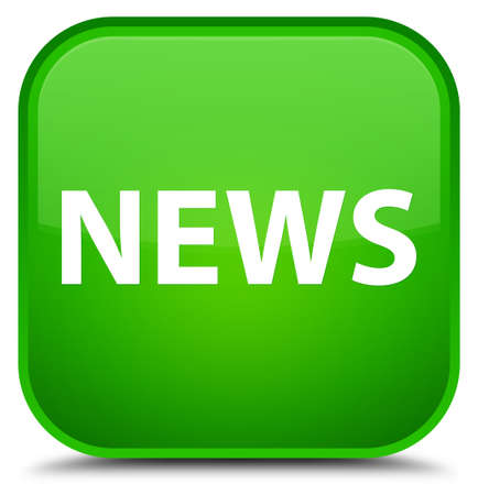 News isolated on special green square button abstract illustration Stock Photo