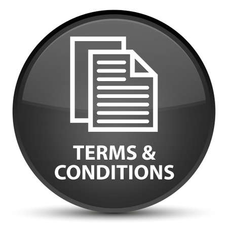 Terms and conditions (pages icon) isolated on special black round button abstract illustration