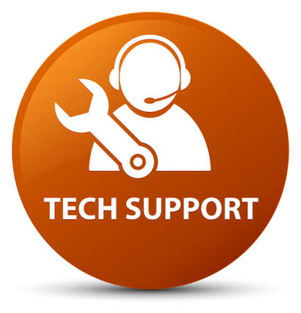Tech support isolated on brown round button abstract illustration