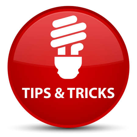 Tips and tricks (bulb icon) isolated on special red round button abstract illustration