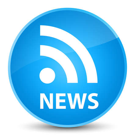 News (RSS icon) isolated on elegant cyan blue round button abstract illustration