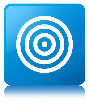Target icon isolated on cyan blue square button reflected abstract illustration