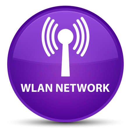 Wlan network isolated on special purple round button abstract illustration