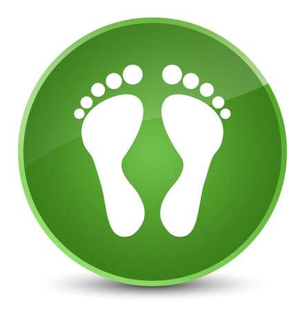 footmark: Footprint icon isolated on elegant soft green round button abstract illustration Stock Photo