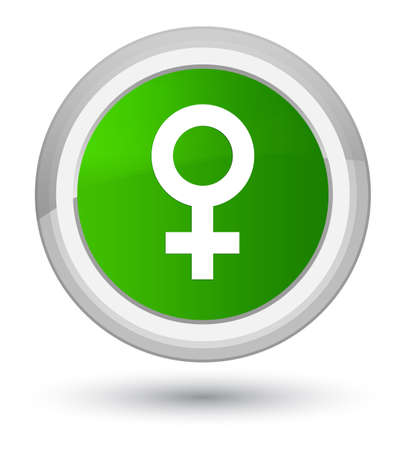 Female sign icon isolated on prime green round button abstract illustration