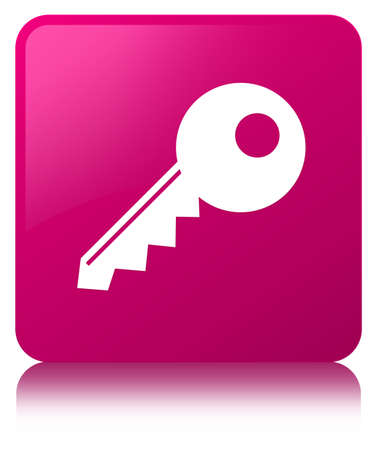 Key icon isolated on pink square button reflected abstract illustration