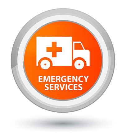 lorry: Emergency services isolated on prime orange round button abstract illustration Stock Photo