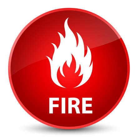 Fire isolated on elegant red round button abstract illustration