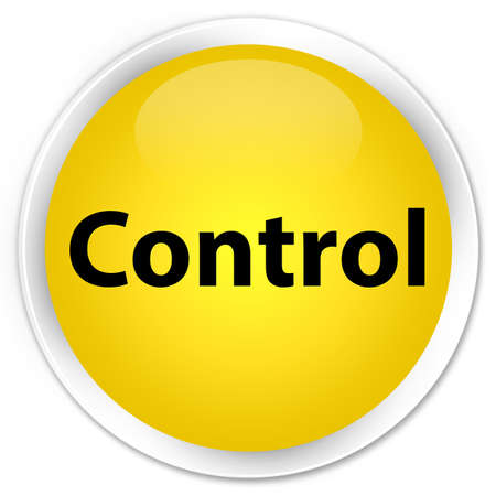 Control isolated on premium yellow round button abstract illustration