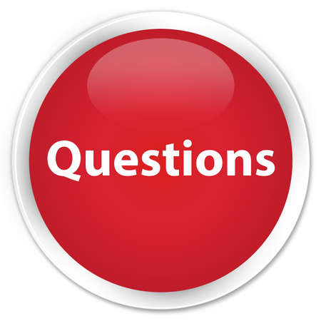 Questions isolated on premium red round button abstract illustration Stock Photo