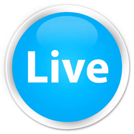 Live isolated on premium cyan blue round button abstract illustration Banco de Imagens