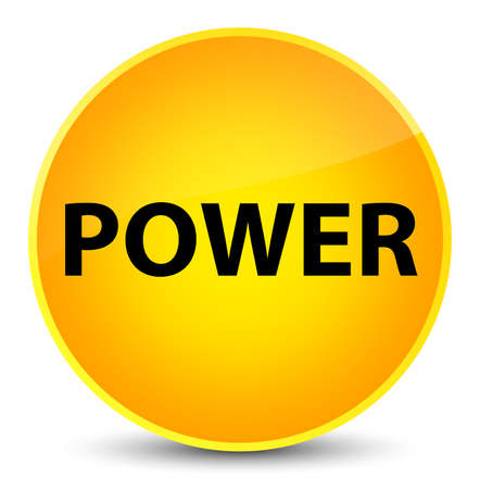 Power isolated on elegant yellow round button abstract illustration Stock Photo