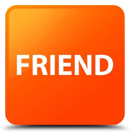pals: Friend isolated on orange square button abstract illustration Stock Photo