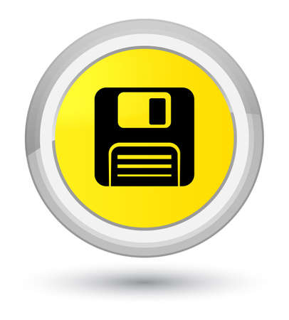 Floppy disk icon isolated on prime yellow round button abstract illustration