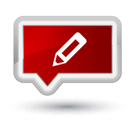 Pencil icon isolated on prime red banner button abstract illustration