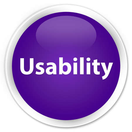 Usability isolated on premium purple round button abstract illustration