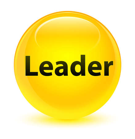 Leader isolated on glassy yellow round button abstract illustration