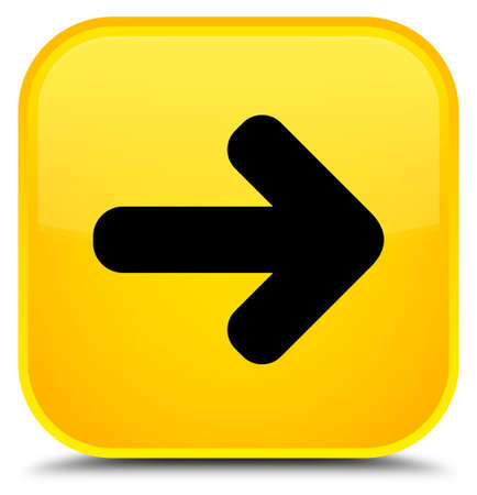 Next arrow icon isolated on special yellow square button abstract illustration Stock Photo