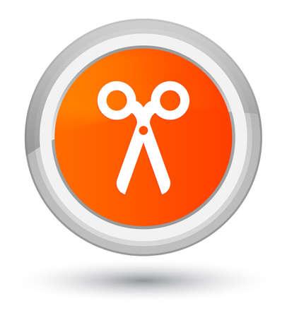 Scissors icon isolated on prime orange round button abstract illustration Stock Photo