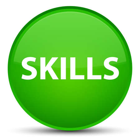 Skills isolated on special green round button abstract illustration